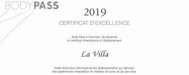 Certificat d'excellence Body Pass