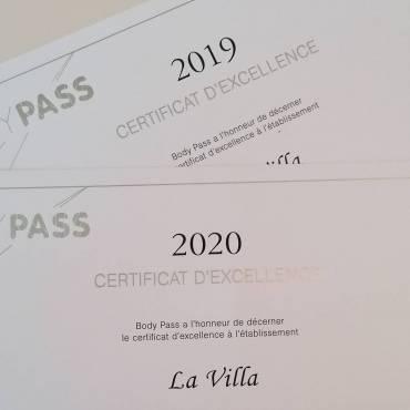Deuxième certificat d'excellence consécutif 2019 /2020.